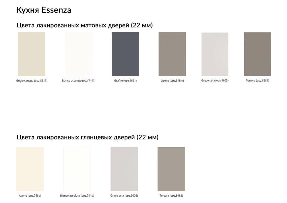 Кухня Essenza цвета лакированных матовых и глянцевых дверей