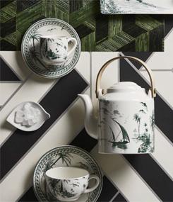 Французский фаянс Gien Старинная коллекция тарелок LES DÉPAREILLÉES (Неодинаковые) в зеленом, синем и черном цвете