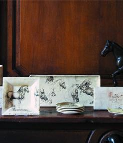 Французский фаянс Gien Коллекция посуды вдохновленная рисунками Леонардо да Винчи LÉONARD DE VINCI