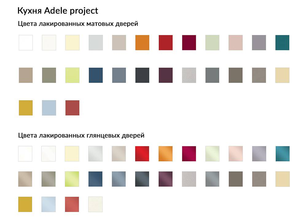 Кухня Adele Project цвета лакированных матовых и глянцевых дверей