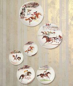 Французский фаянс Gien Коллекция посуды CAVALIERS (Кавалеристы) для ценителей скачек