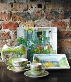 Французский фаянс Gien Красочная посуда PARIS A GIVERNY (Из Парижа в Живерни), с пейзажами сада Клода Моне