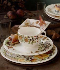 Французский фаянс Gien Осенняя коллекция посуды CHANTERELLE (Осень в лесу), буйство грибов