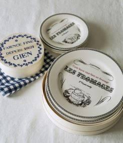 Французский фаянс Gien Подарочный набор сырных винтажных тарелок GASTRONOMIE (Гастрономия)