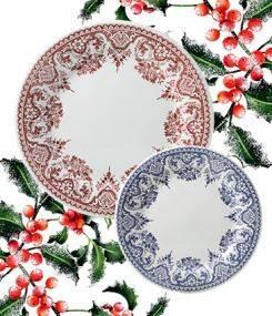 Французский фаянс Gien Классические рождественские тарелки ROUEN FLEURI POUR NOËL