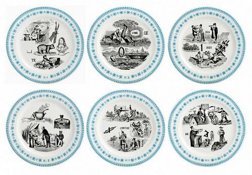Тарелки для сладостей LES RÉBUS голубой 6шт
