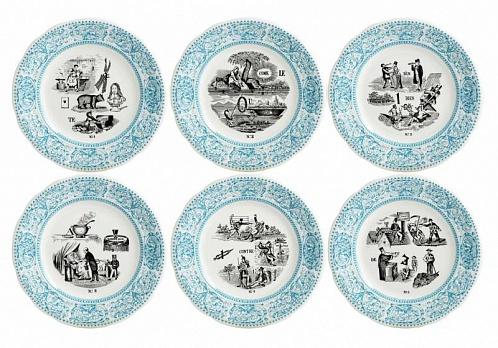 Тарелки десертные LES RÉBUS голубой 6шт