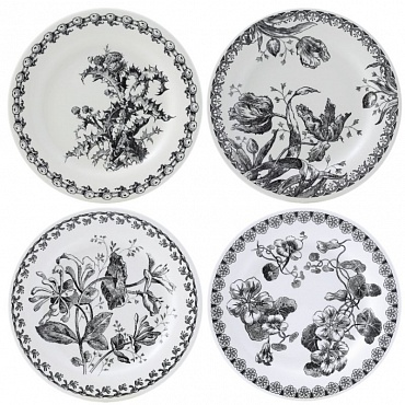 Тарелки для сладостей FLEURS NOIRES 4шт