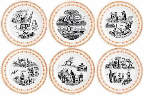 Тарелки для сладостей LES RÉBUS оранжевый 6шт